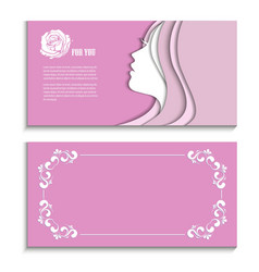 flyer with a profile of a beautiful woman vector image