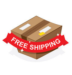 Free shipping ribbon on carton box vector