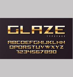 glaze shiny golden display font design alphabet vector image