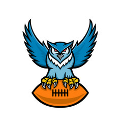 Great horned owl american football mascot vector