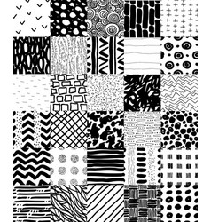 hand drawn seamless patterns set vector image