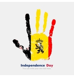 Handprint with the Flag of Belgium in grunge style vector