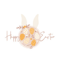 happy easter greeting card with easter eggs vector image