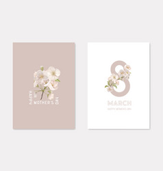 happy mothers day and 8 march stylish cards vector image