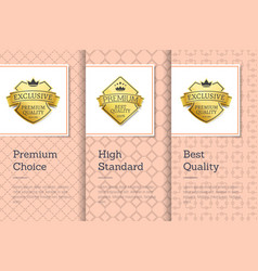 high standard quality premium choice golden labels vector image