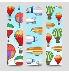 Hot air balloons bookmarks set vector image