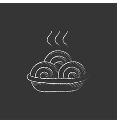 Hot meal in plate Drawn in chalk icon vector