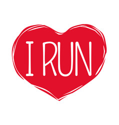 I love run text in red hand drawn heart logo sign vector