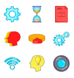 Internet node icons set cartoon style vector