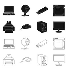 Isolated object of laptop and device logo set of vector