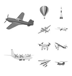 Isolated object plane and transport icon set vector