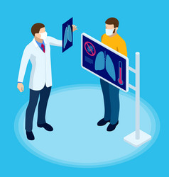 Isometric doctor is watching an x-ray the vector