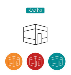 Kaaba building outline icons set vector
