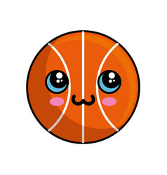 kawaii basketball ball icon vector image