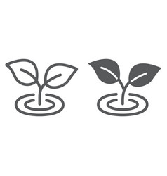 Leaf line and glyph icon ecology and plant vector