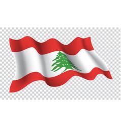 lebanon flag wave 3d on checkered vector image