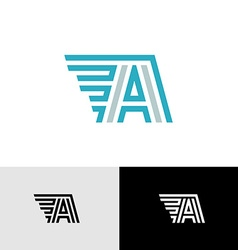 Letter A linear logo with side wings vector image