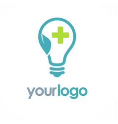 light bulb ecology medic logo vector image