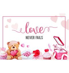 Love frame design with teddy bear heart vector