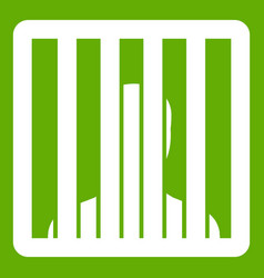 Man behind jail bars icon green vector