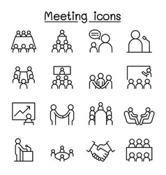 meeting conference seminar planing icon set in vector image