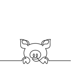 one continuous line drawing pig black and vector image