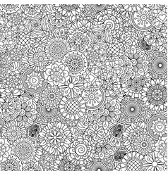 outline ormanental flowers pattern vector image