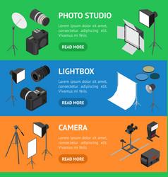 photo studio equipment banner horizontal set vector image