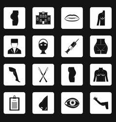 Plastic surgeon icons set squares vector