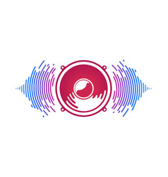red speaker and sound waves isolated vector image
