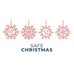 safe christmas coronavirus ball banner christmas vector image