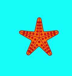 Sea star on the cyan background vector