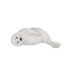 Seal pup lying on its side with closed eyes side vector