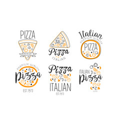 set logos for pizzeria vector image