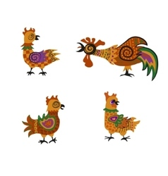 Set of cock and hens vector image
