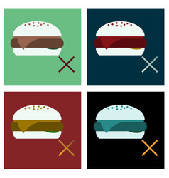 Set of flat hamburger classic burger american vector