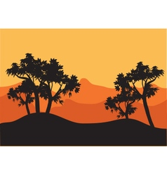 Silhouettes of tree with orange background vector