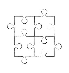 sketch puzzle piece jigsaw vector image