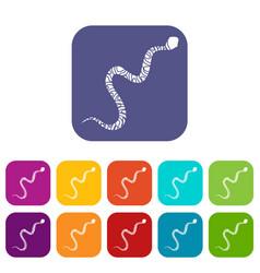 Snake wriggling icons set flat vector