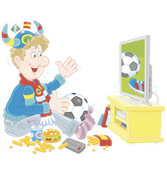 Soccer fan with a ball and a scarf in front of tv vector