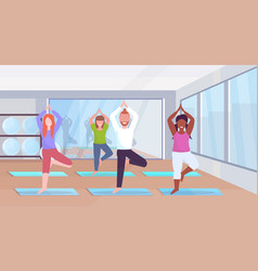 Sporty man women group doing yoga exercises mix vector