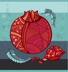 stylized pomegranate decorative pattern vector image