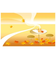Table autumn leaves vector