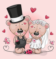 Teddy bride and teddy groom on a pink background vector