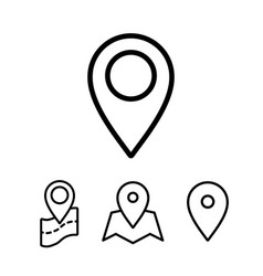 thin line google map pin point location icons vector image