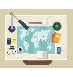 Top view of desk background with map digital vector