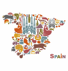 Traditional symbols of spain in the form of a map vector