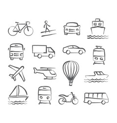 Transport doodle icons vector