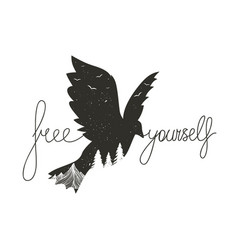 typography poster with monochrome flying bird vector image