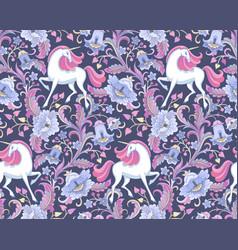 unicorns in garden vector image